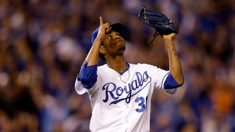 KANSAS CITY, MO - OCTOBER 28:  Yordano Ventura #30 of the Kansas City Royals reacts after getting out of the third inning against the San Francisco Giants during Game Six of the 2014 World Series at Kauffman Stadium on October 28, 2014 in Kansas City, Missouri.  (Photo by Ezra Shaw/Getty Images)