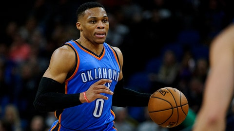 MINNEAPOLIS, MN - JANUARY 13: Russell Westbrook #0 of the Oklahoma City Thunder dribbles the ball down the court against the Minnesota Timberwolves during the second quarter of the game on January 13, 2017 at the Target Center in Minneapolis, Minnesota. NOTE TO USER: User expressly acknowledges and agrees that, by downloading and or using this Photograph, user is consenting to the terms and conditions of the Getty Images License Agreement. (Photo by Hannah Foslien/Getty Images)