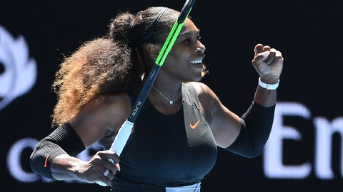 Serena Williams of the US celebrates her victory against Britain's Johanna Konta during their women's singles quarter-final match on day ten of the Australian Open tennis tournament in Melbourne on January 25, 2017. / AFP / WILLIAM WEST / IMAGE RESTRICTED TO EDITORIAL USE - STRICTLY NO COMMERCIAL USE        (Photo credit should read WILLIAM WEST/AFP/Getty Images)