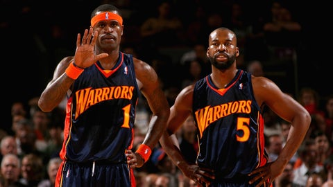 NEW YORK - NOVEMBER 20:  Stephen Jackson #1 and Baron Davis #5 of the Golden State Warriors stand on the court during the game against the New York Knicks on November 20, 2007 at Madison Square Garden in New York, New York.  The Warriors won 108-82.  NOTE TO USER: User expressly acknowledges and agrees that, by downloading and/or using this Photograph, user is consenting to the terms and conditions of the Getty Images License Agreement. Mandatory Copyright Notice: Copyright 2007 NBAE  (Photo by Jesse D. Garrabrant/NBAE via Getty Images)
