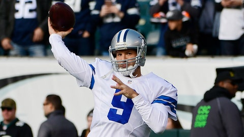PHILADELPHIA, PA - JANUARY 01: Tony Romo #9 of the Dallas Cowboys throws before taking on the Philadelphia Eagles at Lincoln Financial Field on January 1, 2017 in Philadelphia, Pennsylvania. (Photo by Corey Perrine/Getty Images)