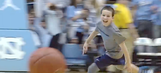 UNC crowd goes wild as ball boy hits three straight half-court shots