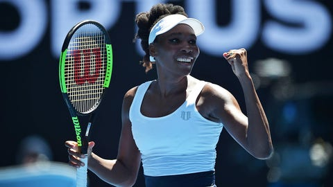 Venus Williams of the US celebrates her victory against Ukraine's Kateryna Kozlova during their women's singles match on day one of the Australian Open tennis tournament in Melbourne on January 16, 2017. / AFP / PETER PARKS / IMAGE RESTRICTED TO EDITORIAL USE - STRICTLY NO COMMERCIAL USE