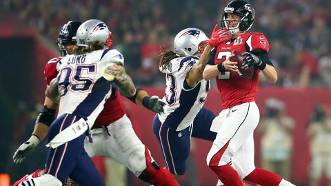 Most passing yards in a single Super Bowl, combined: 682, Patriots and Falcons
