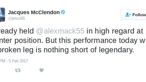 Alex Mack's performance gained high praise.