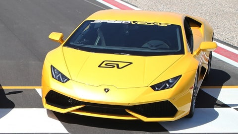 A 2015 Lamborghini Huracan seen at the SpeedVegas motorsports complex on May 30, 2016 in Las Vegas, Nevada.  (Photo by Gabe Ginsberg/Getty Images)