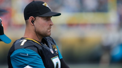 Dec 4, 2016; Jacksonville, FL, USA;  Jacksonville Jaguars quarterback Chad Henne (7) watches the action during the second quarter  of an NFL football game against the Denver Broncos at EverBank Field. Mandatory Credit: Reinhold Matay-USA TODAY Sports