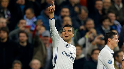 Casemiro (Real Madrid 3-1 Napoli) round of 16 first leg, Feb. 15, 2017