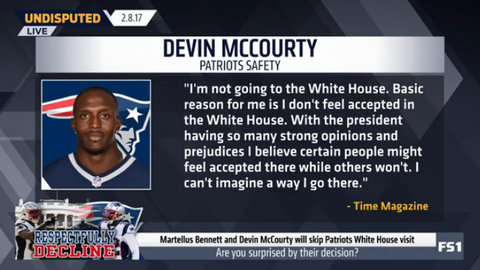 After Martellus Bennett stated that he would not go to the White House, Devin McCourty became the second Patriots player to speak out