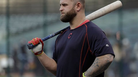 Cleveland Indians first baseman Mike Napoli watches during batting practice before Game 7 of the Major League Baseball World Series against the Chicago Cubs Wednesday, Nov. 2, 2016, in Cleveland. (AP Photo/Matt Slocum)