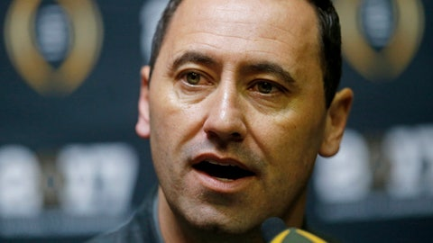Alabama offensive coordinator Steve Sarkisian answers questions during media day for the NCAA college football playoff championship game against Clemson Saturday, Jan. 7, 2017, in Tampa, Fla. (AP Photo/John Bazemore)