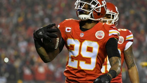 Kansas City Chiefs strong safety Eric Berry (29) celebrates after intercepting a pass in the end zone during the first half of an NFL divisional playoff football game against the Pittsburgh Steelers on Sunday, Jan. 15, 2017, in Kansas City, Mo. (AP Photo/Ed Zurga)