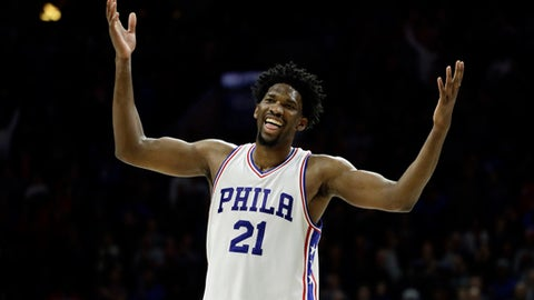 Philadelphia 76ers' Joel Embiid reacts during the final minutes of an NBA basketball game against the Toronto Raptors, Wednesday, Jan. 18, 2017, in Philadelphia. Philadelphia won 94-89. (AP Photo/Matt Slocum)