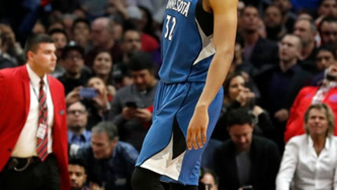 Minnesota Timberwolves center Karl-Anthony Towns reacts after the team's NBA basketball game against the Los Angeles Clippers, Thursday, Jan. 19, 2017, in Los Angeles. The Timberwolves won 104-101. (AP Photo/Ryan Kang)