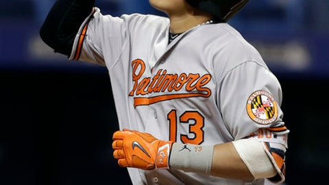 File-This Sept. 6, 2016, file photo shows Baltimore Orioles' Manny Machado gesturing skyward after hitting a grand slam off Tampa Bay Rays starting pitcher Jake Odorizzi in the fourth inning of a baseball game, in St. Petersburg, Fla. Quite by design, there were plenty of familiar faces on stage Saturday, Jan. 28, 2017, at the Baltimore Orioles' annual offseason event for their fans. The Orioles haven't changed much since the end of the 2016 season, when they went 89-73 before losing to Toronto in the AL wild-card game.  (AP Photo/Chris O'Meara, File)
