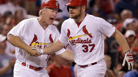 FILE - In this Tuesday, Sept. 13, 2016, file photo, St. Louis Cardinals' Brandon Moss, right, is congratulated by third base coach Chris Maloney while rounding the bases after hitting a two-run home run during the sixth inning of a baseball game against the Chicago Cubs,  in St. Louis. The Royals and designated hitter Brandon Moss have agreed to a $12 million, two-year contract to provide some power to the Kansas City lineup, a person familiar with the deal told The Associated Press, on Monday, Jan. 30, 2017. (AP Photo/Jeff Roberson, File)