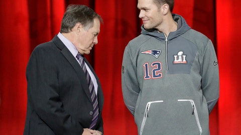 New England Patriots head coach Bill Belichick and Tom Brady are introduced during opening night for the NFL Super Bowl 51 football game at Minute Maid Park Monday, Jan. 30, 2017, in Houston. (AP Photo/David J. Phillip)