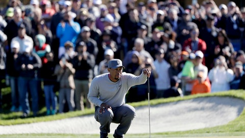 FILE - In this Friday, Jan. 27, 2017, file photo, Tiger Woods looks over his ball on the 18th hole of the North Course during the second round of the Farmers Insurance Open golf tournament at Torrey Pines Golf Course in San Diego. Woods has taken his talents to the Middle East to play in the Omega Dubai Desert Classic. The Phoenix Open is left with an expected 600,000 to see some of the rising young stars in the game, from Jordan Spieth to Justin Thomas, from Hideki Matsuyama of Japan to Jon Rahm of Spain.  (AP Photo/Gregory Bull, File)