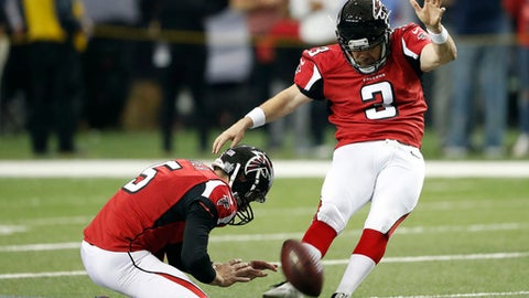 FILE- In this Jan. 14, 2017, file photo, Atlanta Falcons kicker Matt Bryant (3) warms up before the NFL football NFC divisional playoff game against the Seattle Seahawks in Atlanta. Bryant is 41, not too old to finally make it to his first Super Bowl. The Falcons' kicker is a testament to perseverance, and truly appreciative to finally get his chance in the big game. (AP Photo/John Bazemore, File)