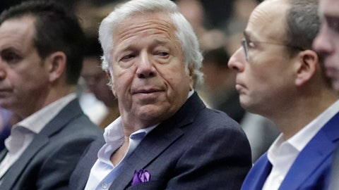 New England Patriots owner Robert Kraft listens as NFL Commissioner Roger Goodell answers questions during a news conference during preparations for the NFL Super Bowl 51 football game Wednesday, Feb. 1, 2017, in Houston. (AP Photo/David J. Phillip)