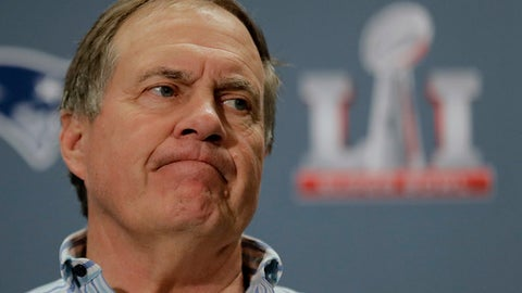 New England Patriots head coach Bill Belichick addresses reporters during a media availability for the NFL Super Bowl 51 football game Wednesday, Feb. 1, 2017, in Houston. The Patriots will face the Atlanta Falcons in the Super Bowl Sunday. (AP Photo/Charlie Riedel)