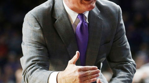 Kansas State head coach Bruce Weber turns to his bench as they took a lead on TCU during an NCAA college basketball game Wednesday, Feb. 1, 2017, in Manhattan, Kan. (Bo Rader/The Wichita Eagle via AP)