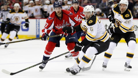 Boston Bruins defenseman Colin Miller (6) seats with the puck while Washington Capitals center Jay Beagle (83) defends during the second period of an NHL hockey game in Washington, Wednesday, Feb. 1, 2017. (AP Photo/Manuel Balce Ceneta)