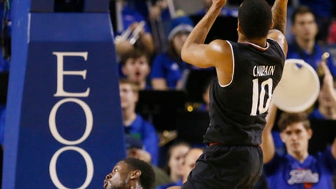 Cincinnati guard Troy Caupain (10) shoots over Tulsa guard Sterling Taplin (4) during the second half of an NCAA college basketball game in Tulsa, Okla., Wednesday, Feb. 1, 2017. Cincinnati won 57-55. (AP Photo/Sue Ogrocki)
