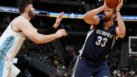 Memphis Grizzlies center Marc Gasol, right, looks for a shot against Denver Nuggets center Jusuf Nurkic during the first half of an NBA basketball game Wednesday, Feb. 1, 2017, in Denver. (AP Photo/David Zalubowski)