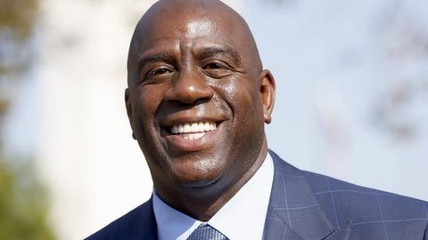 Former Los Angeles Lakers star Magic Johnson speaks at a groundbreaking ceremony for a stadium which will be home to the Los Angeles Football Club in Los Angeles on Tuesday, Aug. 23, 2016. Johnson, a co-owner of the soccer team, was on hand for the groundbreaking for the $350 million stadium that will house Southern California's newest soccer team. (AP Photo/Nick Ut)