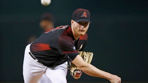 Arizona Diamondbacks' Shelby Miller warms up prior to a baseball game against the Los Angeles Dodgers Saturday, Sept. 17, 2016, in Phoenix.  The Dodgers defeated the Diamondbacks 6-2.  (AP Photo/Ross D. Franklin)