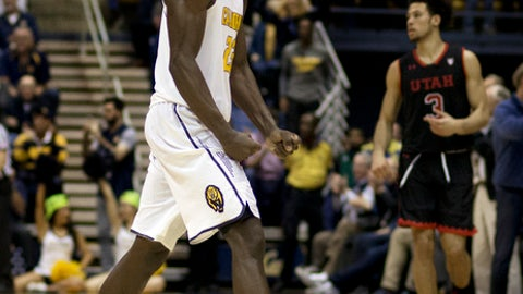 California's Jabari Bird, left, celebrates a score against Utah in the second half of an NCAA college basketball game Thursday, Feb. 2, 2017, in Berkeley, Calif. (AP Photo/Ben Margot)