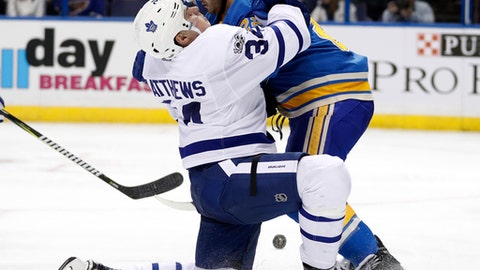 Toronto Maple Leafs' Auston Matthews, left, collides with St. Louis Blues' Kevin Shattenkirk during the third period of an NHL hockey game Thursday, Feb. 2, 2017, in St. Louis. The Blues won 5-1. (AP Photo/Jeff Roberson)