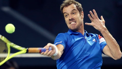 Richard Gasquet of France returns the ball against Taro Daniel of Japan during the Davis Cup World Group first round match in Tokyo, Friday, Feb. 3, 2017. (AP Photo/Koji Sasahara)