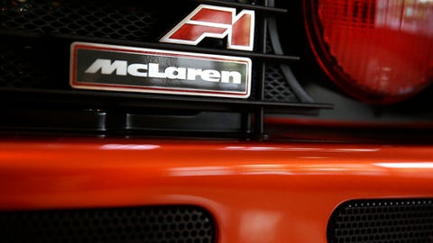 FILE - In this Wednesday, June 3, 2015 file photo, the logo of a McLaren F1 Supercar is seen at Sotheby's in New York. The McLaren Formula One team is breaking with past tradition to rename its car for the new season ahead. McLaren has raced with the MP4 tag since 1981 but this season the car will be renamed MCL, it was announced Friday, Feb. 3, 2017. (AP Photo/Seth Wenig, file)
