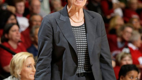 Stanford coach Tara VanDerveer yells out instructions during the first half of the team's NCAA college basketball game against Southern California on Friday, Feb. 3, 2017, in Stanford, Calif. (AP Photo/Marcio Jose Sanchez)