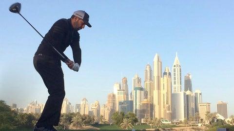 Sergio Garcia of Spain tees off on the 8th hole during the second round completion of the Dubai Desert Classic golf tournament in Dubai, United Arab Emirates, Saturday, Feb. 4, 2017. (AP Photo/Kamran Jebreili)