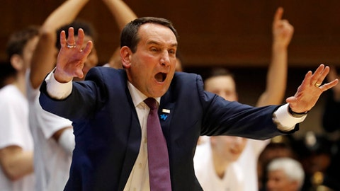 Duke head coach Mike Krzyzewski coaches from the sidelines during the first half of an NCAA college basketball game against Pittsburgh in Durham, N.C., Saturday, Feb. 4, 2017. (AP Photo/Karl B DeBlaker)