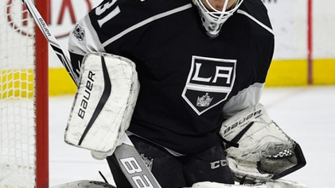 Los Angeles Kings goalie Peter Budaj makes a save during the second period of an NHL hockey game against the Philadelphia Flyers, Saturday, Feb. 4, 2017, in Philadelphia. (AP Photo/Derik Hamilton)