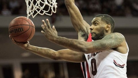 South Carolina guard Sindarius Thornwell (0) attempts a shot during the second half of an NCAA college basketball game against Georgia Saturday, Feb. 4, 2017, in Columbia, S.C. South Carolina defeated Georgia 77-75. (AP Photo/Sean Rayford)