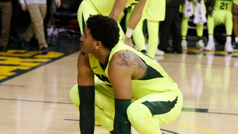 Baylor guard Ishmail Wainright, left, and Baylor guard Jake Lindsey, rear, react to their loss to Kansas State following an NCAA college basketball game, Saturday, Feb. 4, 2017, in Waco, Texas. (AP Photo/Rod Aydelotte)