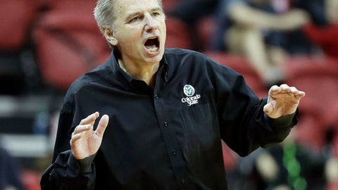 Colorado State coach Larry Eustachy shouts during the second half of the team's NCAA college basketball game against UNLV, Saturday, Feb. 4, 2017, in Las Vegas. Colorado State won 69-49.(AP Photo/John Locher)