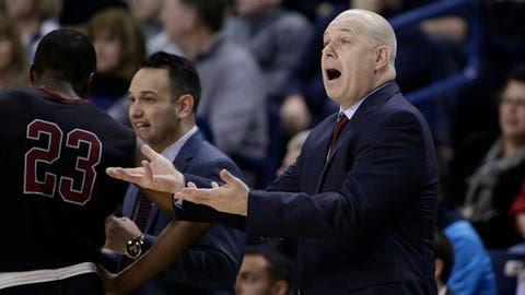 Santa Clara coach Herb Sendek gestures during the first half of the team's NCAA college basketball game against Gonzaga in Spokane, Wash., Saturday, Feb. 4, 2017. (AP Photo/Young Kwak)