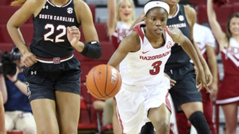Arkansas' Malica Monk (3) drives downcourt during the first half of an NCAA college basketball game against South Carolina, Sunday, Feb. 5, 2017, in Fayetteville, Ark. (AP Photo/Samantha Baker)