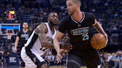 Memphis Grizzlies forward Chandler Parsons (25) controls the ball against San Antonio Spurs guard Jonathon Simmons (17) in the first half of an NBA basketball game Monday, Feb. 6, 2017, in Memphis, Tenn. (AP Photo/Brandon Dill)