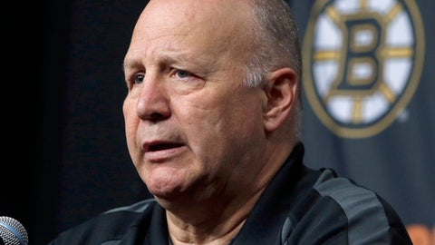 FILE - In this April 14, 2016 file photo, Boston Bruins head coach Claude Julien speaks at a news conference at TD Garden after the Bruins failed to reach the playoffs for the second straight year. On Tuesday, Feb. 7, 2017, the Bruins fired Julien, who was in his 10th season as head coach, and named assistant Bruce Cassidy interim coach. (AP Photo/Bill Sikes, File)