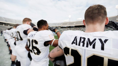 Army players salute during the playing of the national anthem before the first half of the Heart of Dallas Bowl NCAA college football game against North Texas Tuesday, Dec. 27, 2016 in Dallas. (AP Photo/Brandon Wade)