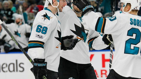 San Jose Sharks center Melker Karlsson (68) celebrates his goal during the second period of an NHL hockey game against the Buffalo Sabres, Tuesday, Feb. 7, 2017, in Buffalo, N.Y. (AP Photo/Jeffrey T. Barnes)