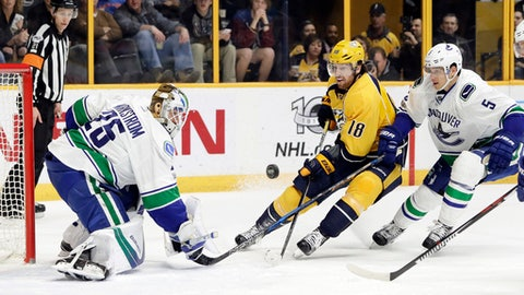 Vancouver Canucks goalie Jacob Markstrom (25), of Sweden, blocks a shot by Nashville Predators right wing James Neal (18) as Canucks defenseman Luca Sbisa (5), of Italy, follows during the second period of an NHL hockey game Tuesday, Feb. 7, 2017, in Nashville, Tenn. (AP Photo/Mark Humphrey)