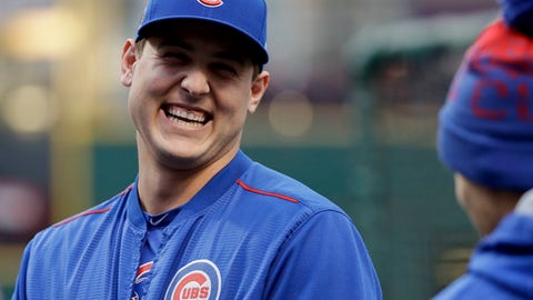 FILE - In this Oct. 25, 2016, file photo, Chicago Cubs first baseman Anthony Rizzo smiles during batting practice before Game 1 of the World Series against the Cleveland Indians in Cleveland. On Feb. 6, 2017, Rizzo invited a 12-year-old boy who was severely beaten at his suburban Chicago middle school to come to a Cubs game this summer. (AP Photo/Matt Slocum, File)